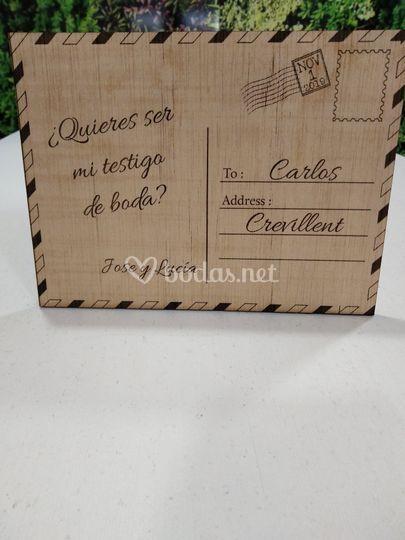 Postal de madera láser