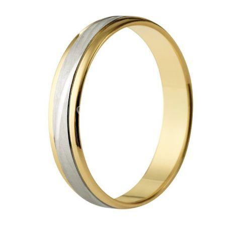 Alianza boda oro bicolor 18K brillo y mate