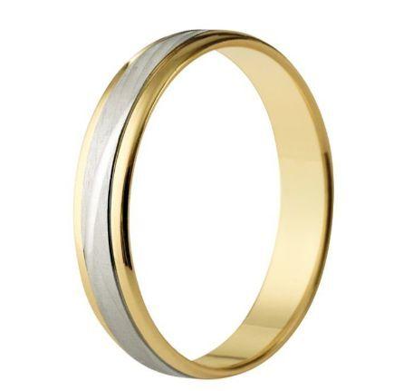 Alianza boda oro bicolor mate