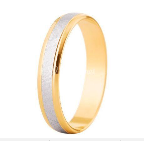 Alianza de boda de oro bicolor 9K brillo y mate