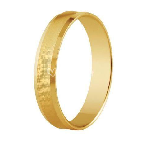 Alianza boda oro amarillo 18K brillo y mate estriada