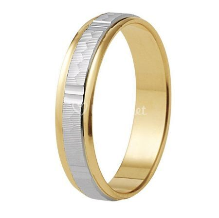 Alianza de boda de oro bicolor 18K carril central labrado