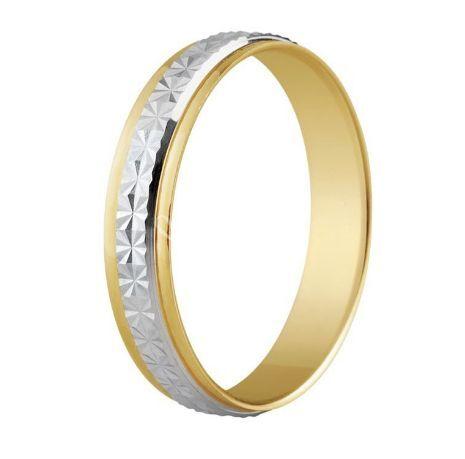 Alianza de boda de oro bicolor 9K lapidado carril central