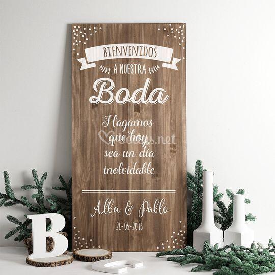 Cartel bienvenida en madera