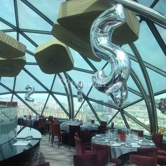 Montaje con globos para el banquete