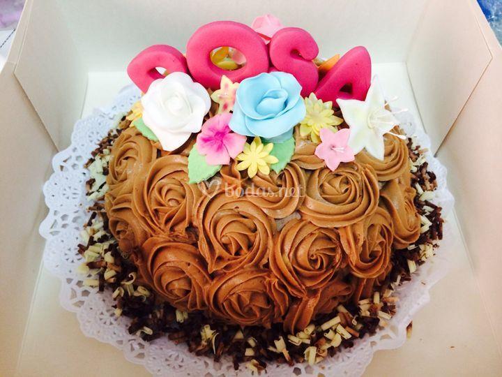 Tarta rosas de chocolate