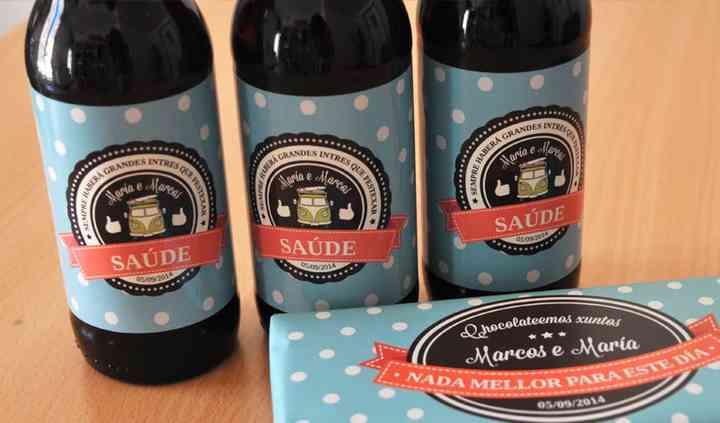 Surtido de vino y chocolates personalizado