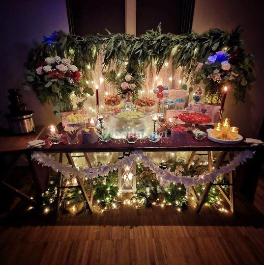 Mesa dulce completa y floral