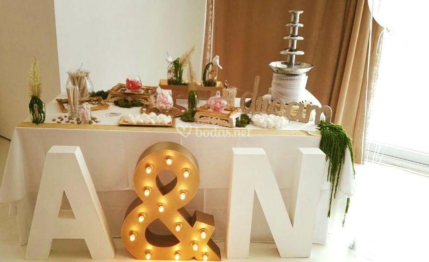 Mesa dulce/Fuente chocolate