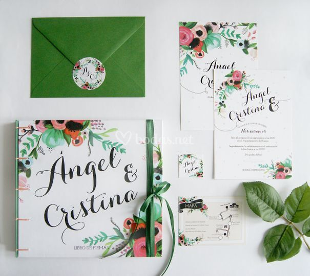 Conjunto invitación floral