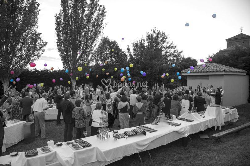 Celebración con globos