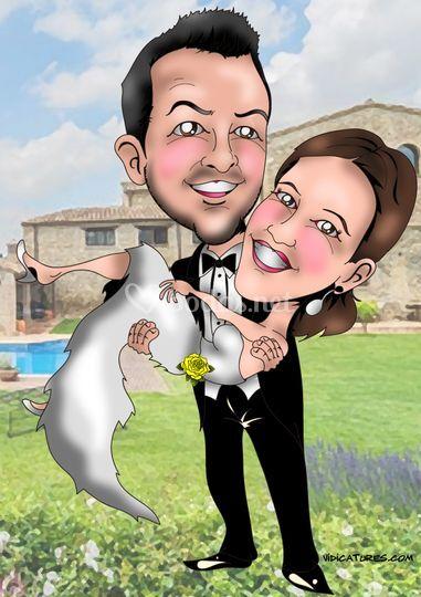 Caricatura pareja el día de la boda