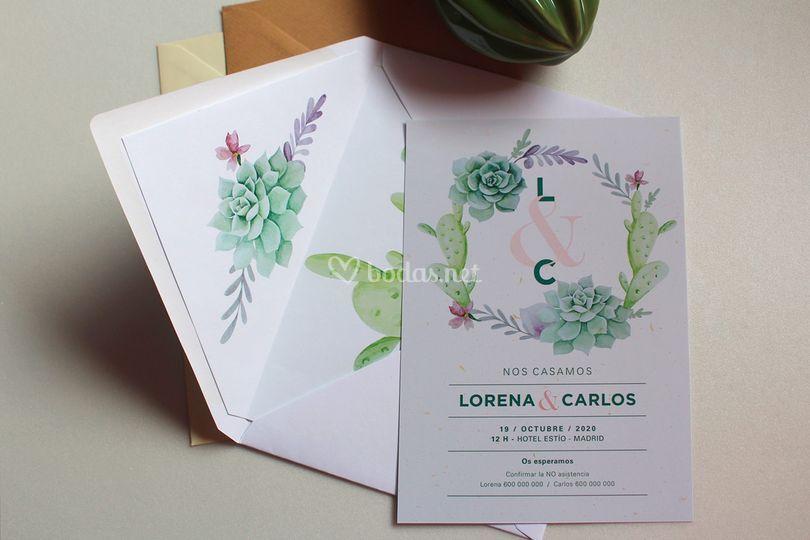Invitaciones de boda cactus