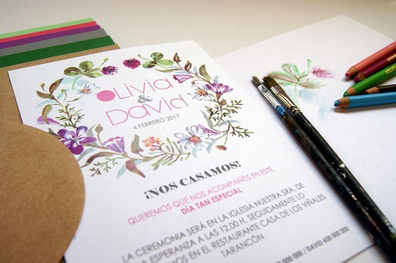 Invitaciones de boda acuarela