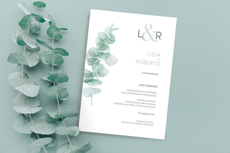Invitaciones de boda eucalipto