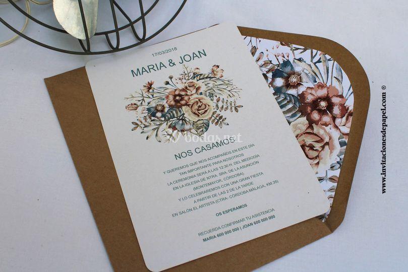 Invitación flores campestres