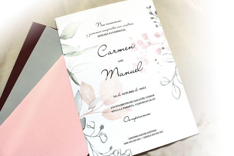 Invitaciones de boda rosae