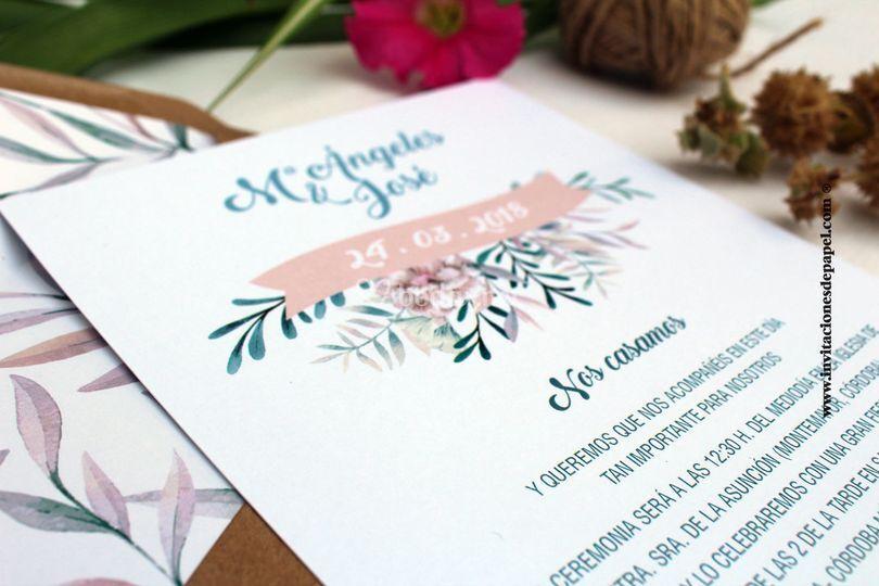 Invitación romántica de flores