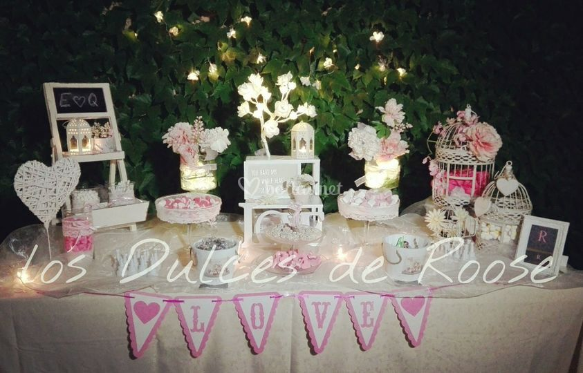 Mesa dulce romántica peque