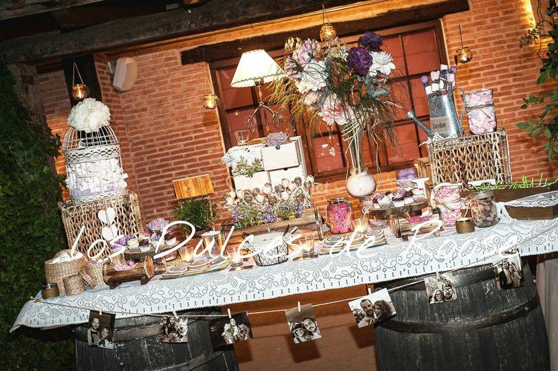 Mesa dulce rustic chic noche