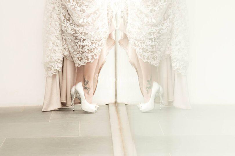Detalle del zapato de la novia