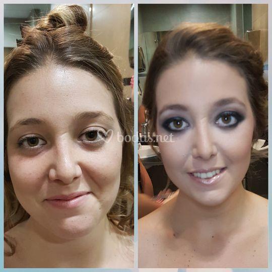 Antes y después de maquillaje