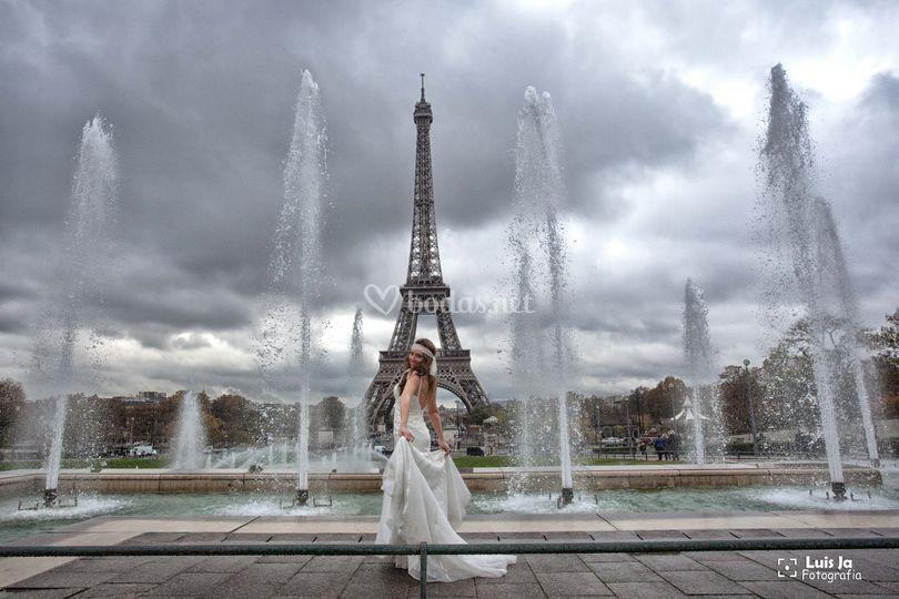 La novia en sesión postboda