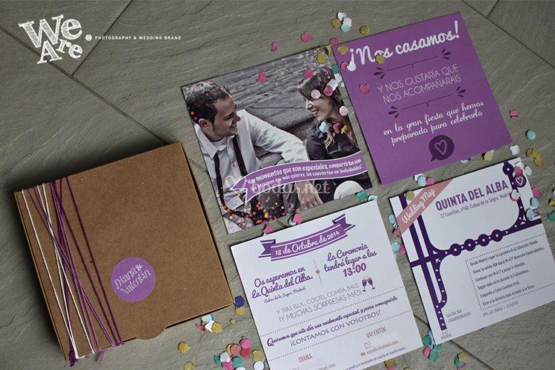 Invitaciones confetti