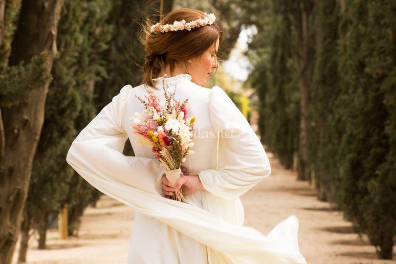 Ramo de novia con flor seca