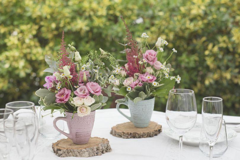 Tazas de flor natural