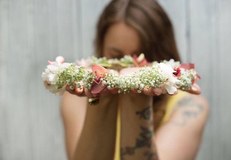 Corona flor natural preservada
