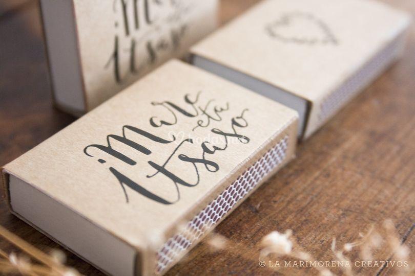 Cerillas caligrafia boda