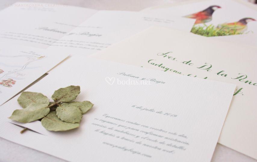 Invitaciones de boda y flores