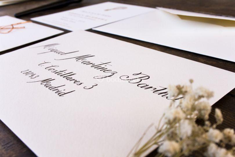 Caligrafia Sobres Invitaciones