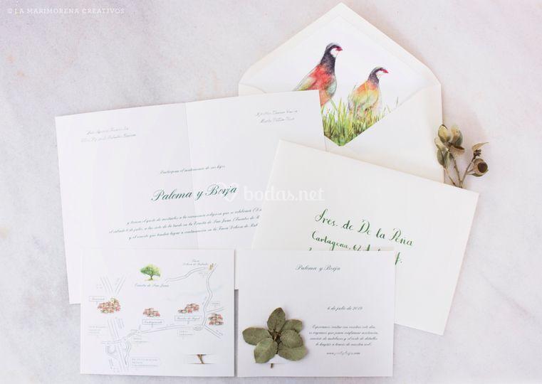 Mapa, invitación y sobres