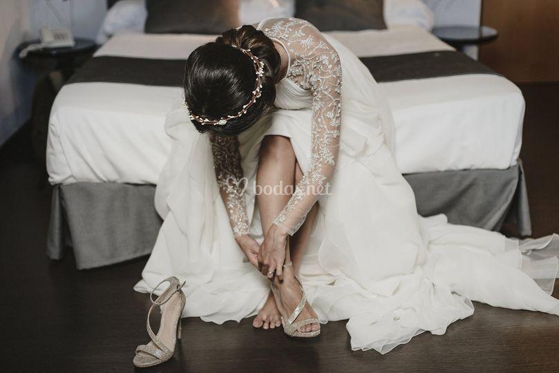Recogido romántico con tiara
