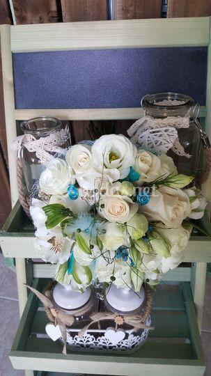 Bouquet en azul y blacno