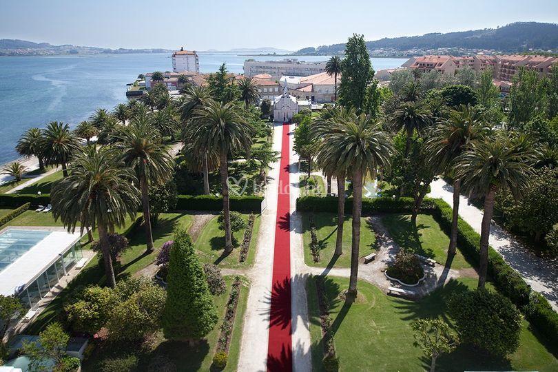 Vista aérea alfombra roja