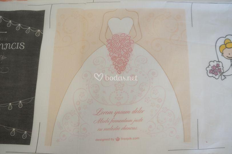 Invitación de boda textil