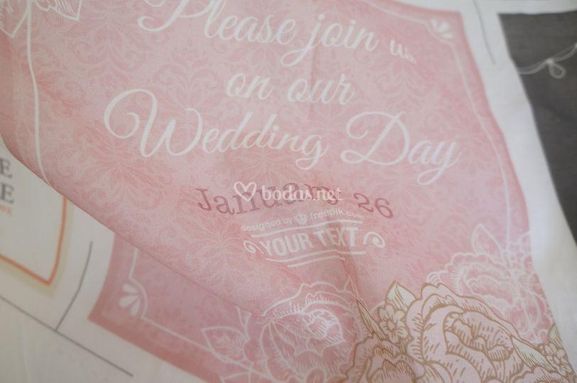 Invitación de boda en muselina