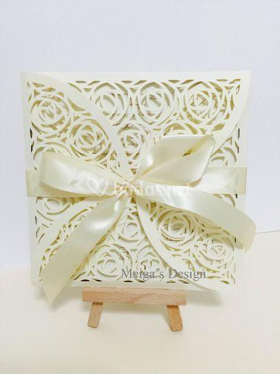 Invitación de boda en blanco de Meiga's Design