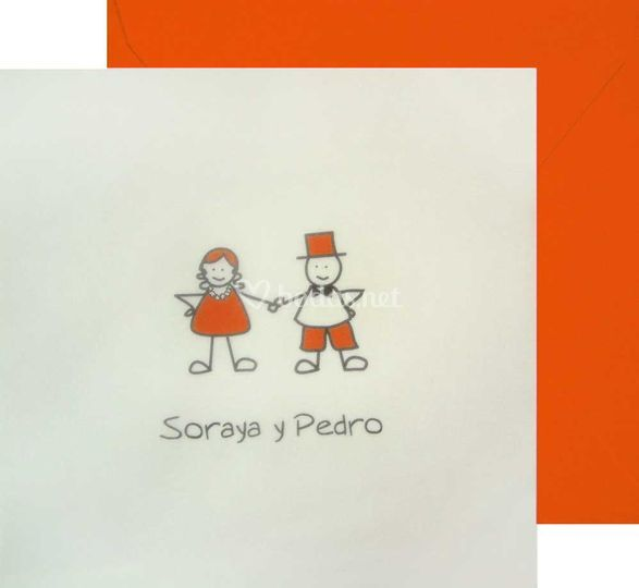 Invitación Muñecos naranja