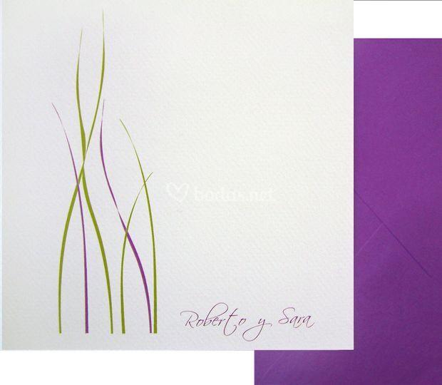 Invitación Hierbas verde morada