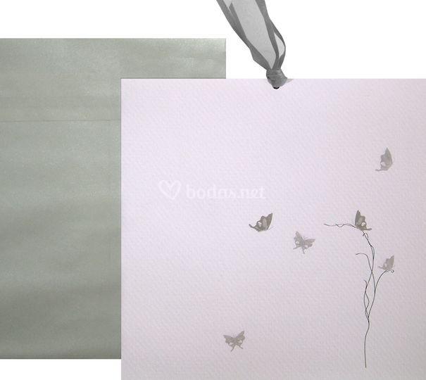 Invitación Mariposas plata