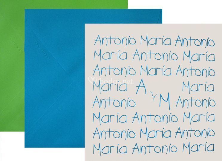 Invitación Nombres azul