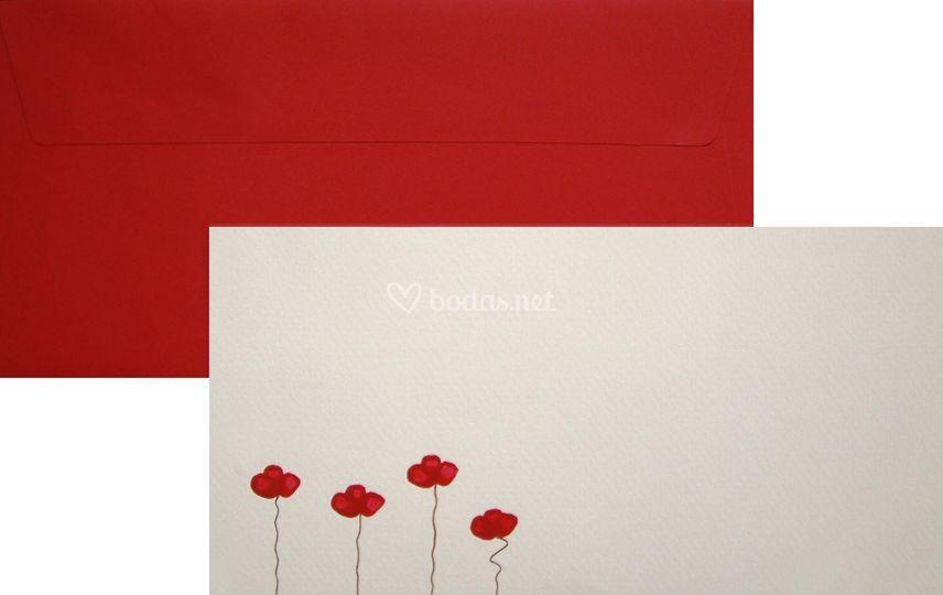 Invitación Pintada Orient rojo