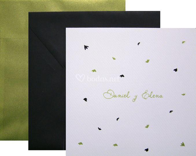 Invitación Pétalos verde negro