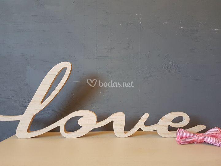 Letrero mader Love natural