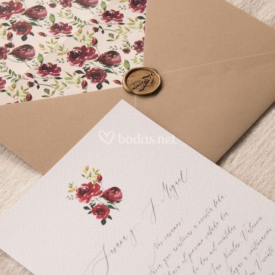 Invitación de boda 'Burgundy'