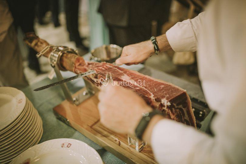 Servicio de cortador de jamón en vivo